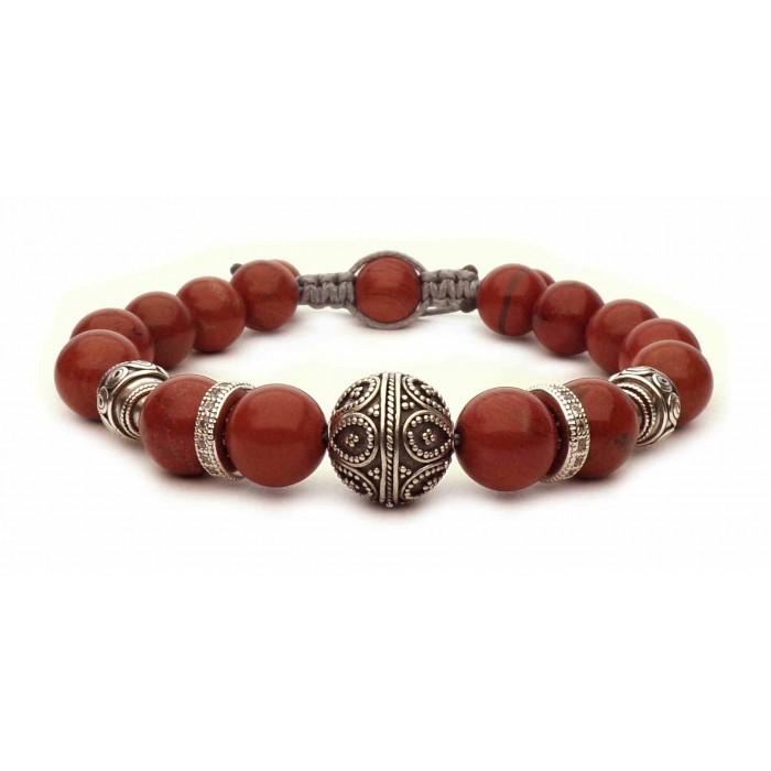 bracelet perles en Jaspe rouge 10mm