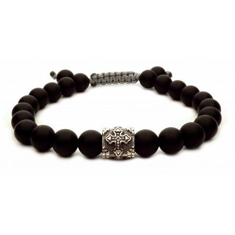 bracelet shamballa croix argent perles onyx