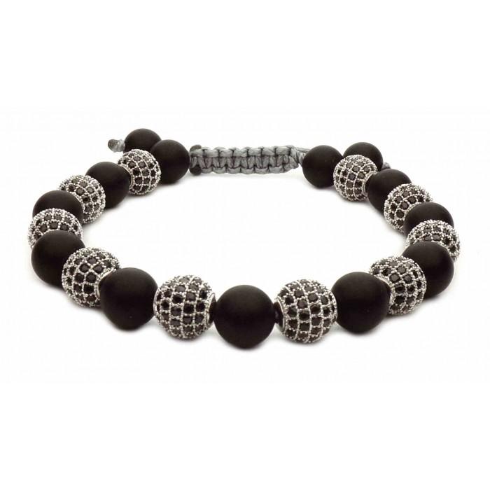 shamballa bracelet perles noir et argent