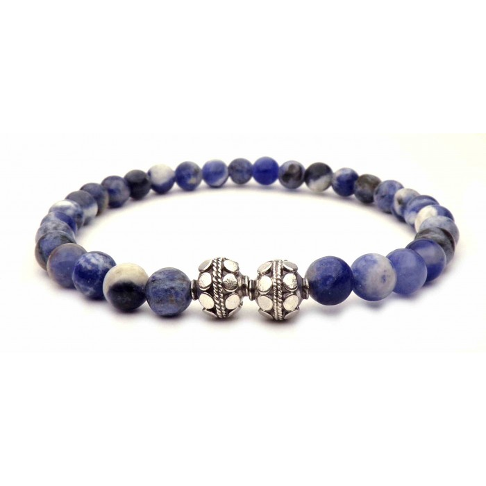 bracelet perles sodalite bleu et argent