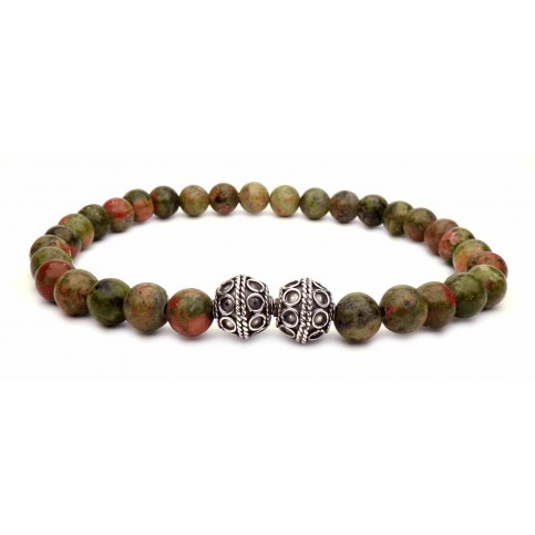 bracelet tibetain perles unakite
