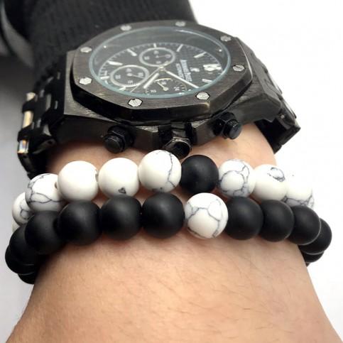 Bracelets distance perles noir et blanc