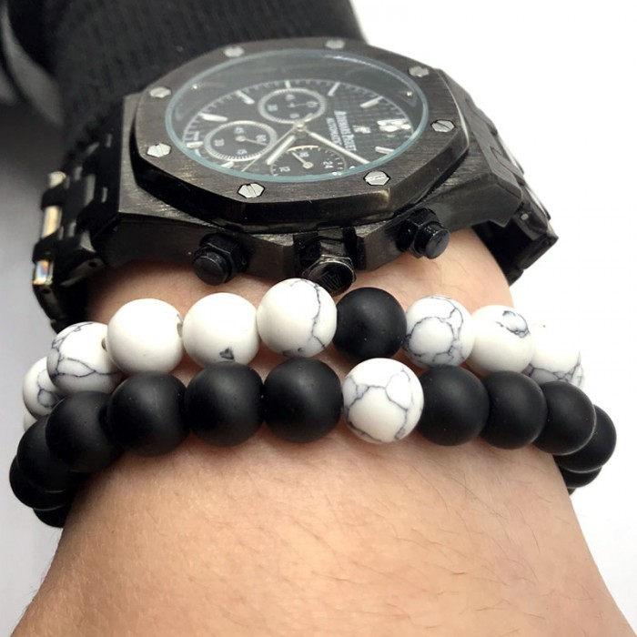 2 bracelets distance perles noir et blanche
