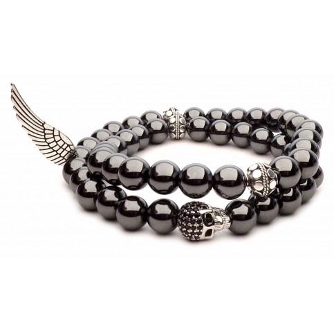 bracelet double tete de mort perles hématite