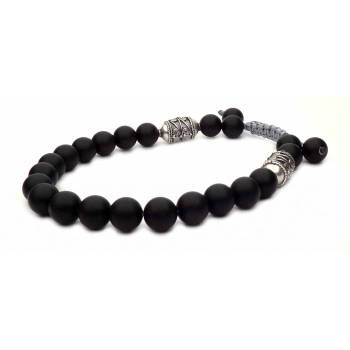 shamballa bracelet perles noir et argent vieilli