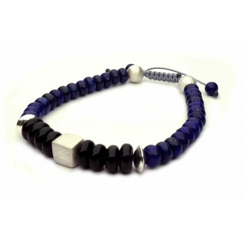 bracelet lapis lazuli perles abaque plate