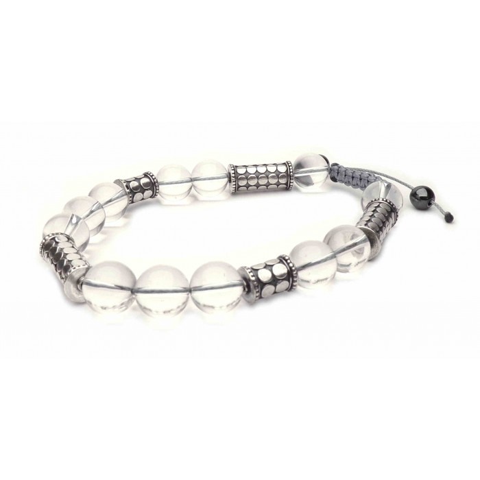 bracelet shamballa perles cristal de roche (quartz)