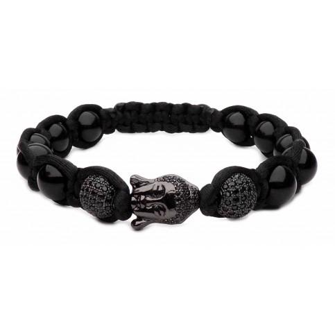 Le shamballa bracelet tressé Bouddha noir