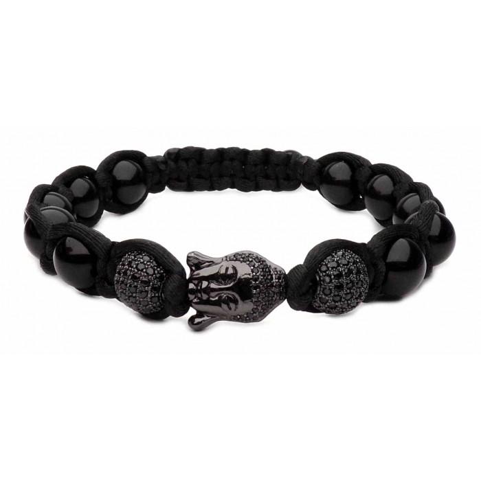 bracelet shamballa tressé noir et Bouddha et perles noir