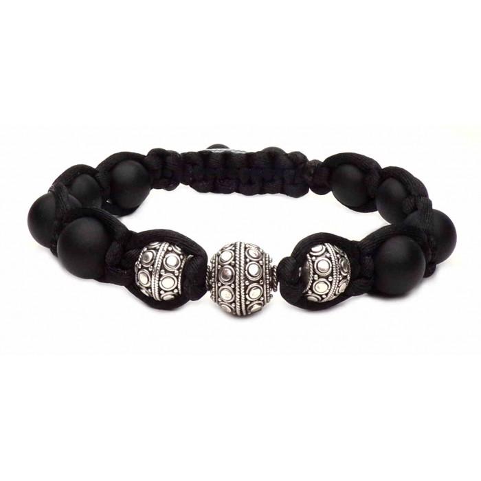 bracelet shamballa tressé noir et perles en argent vrai