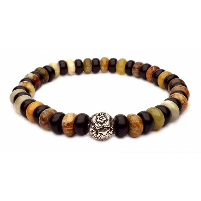 bracelet grande perle Mandala argent