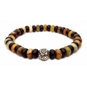 bracelet perle pivoine argent