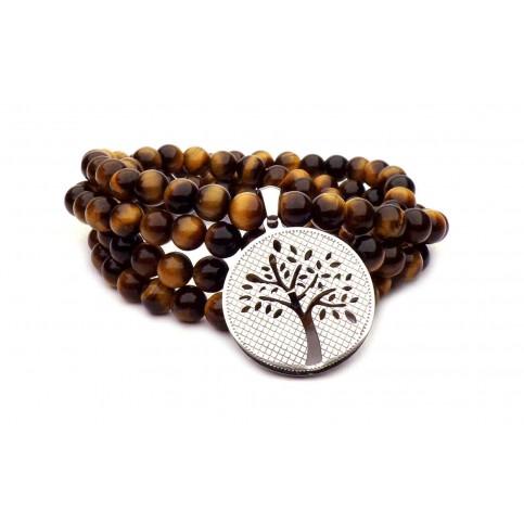 bracelet perle oeil de tigre et arbre de vie