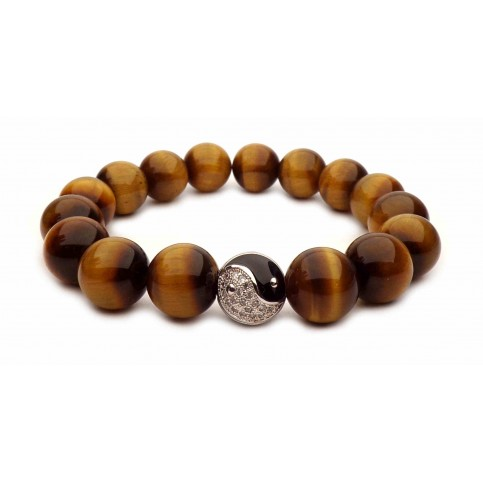 bracelet perles Oeil de tigre et Yin Yang argent