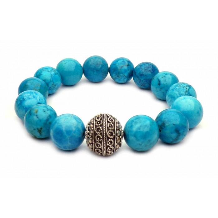 bracelet en grosse perles de Turquoise bleu vrai