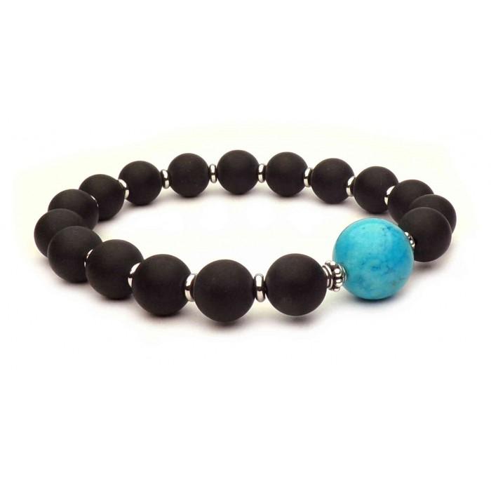 bracelet Grosse perle Bleu turquoise de Johnny Hallyday