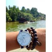 bracelet perles bois noir et marron