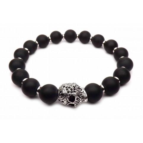 bracelet tete de mort argent maori et perles noir 10mm