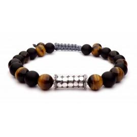 Le bracelet Oeil de tigre et Onyx