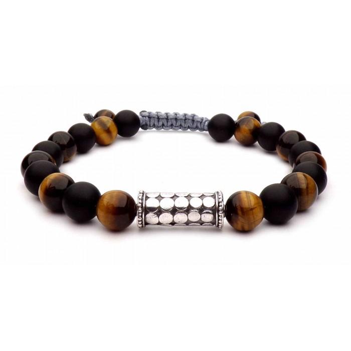 bracelet perles Oeil de tigre et Onyx noir