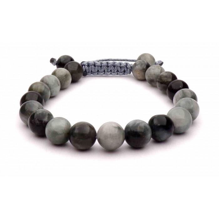 bracelet perles Oeil de faucon sur cordon