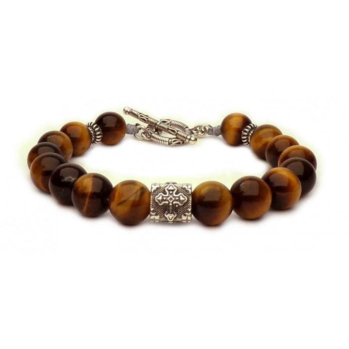 bracelet perles oeil de tigre masculin