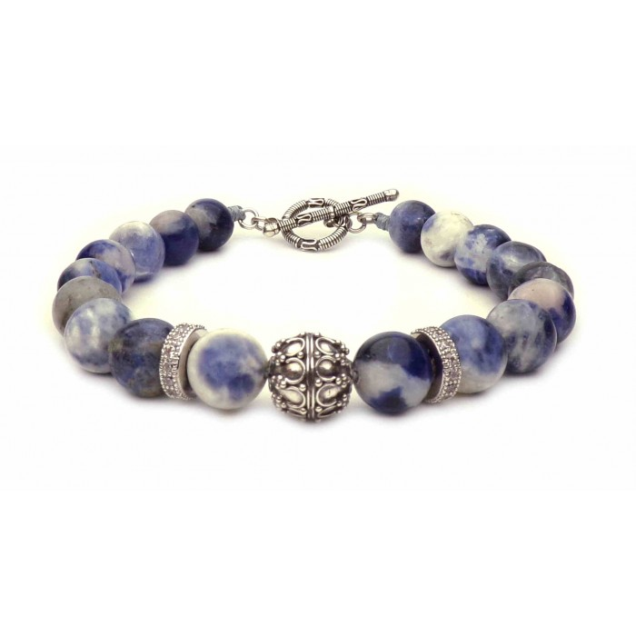 bracelet perles Sodalite bleu pour homme tendance