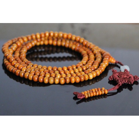 Bracelet perles bois santal clair à enrouler
