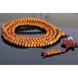 bracelet Mâlâ bois 108 perles et roue Karmique