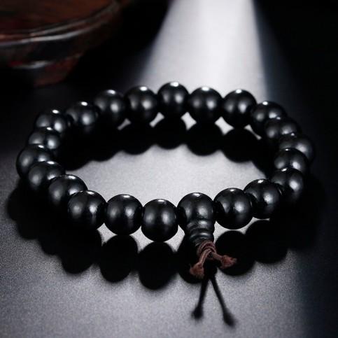 Bracelet perles bois noir bouddhiste