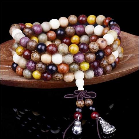 Bracelet perles bois multicouleurs