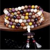 bracelet 108 perles bois multicolores