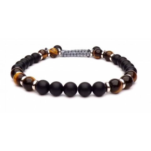 bracelet shamballa onyx et oeil de tigre