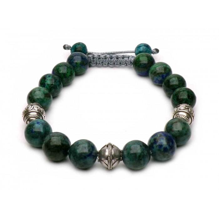 bracelet shamballa Lapis lazuli bleu et vert