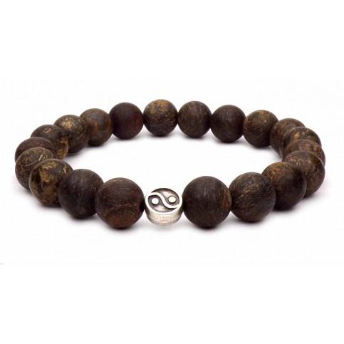 Le bracelet mala Yin Yang perles en Bronzite