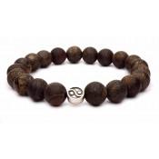 Le bracelet Yin Yang argent et perles en Bronzite