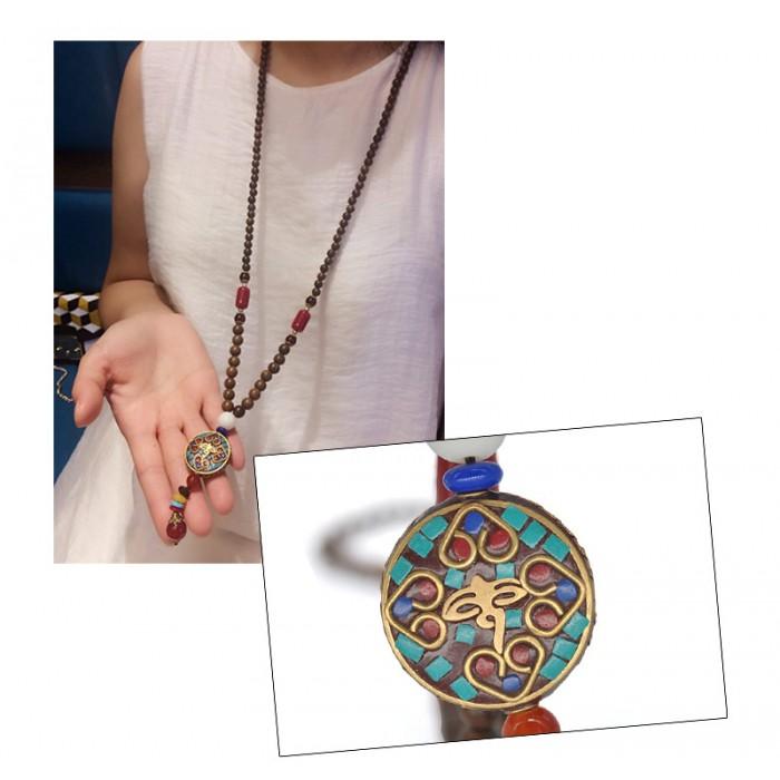Collier feminin perles bois tibétain