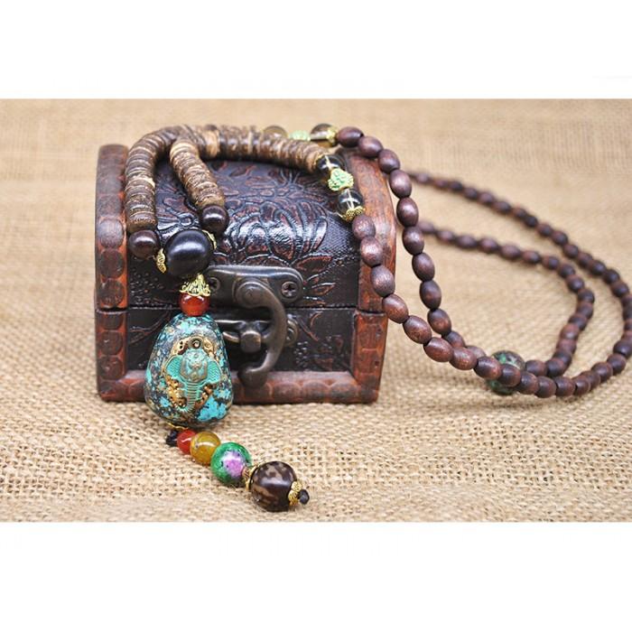 Collier perles bois éléphant
