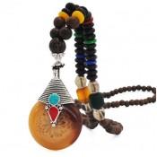 Collier perles bois tibétain pour femme