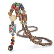 Collier perle bois femme et pendantif argent