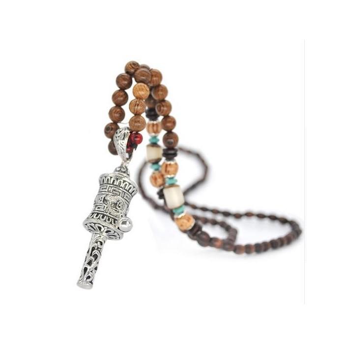 Collier perles bois Bouddhiste femme
