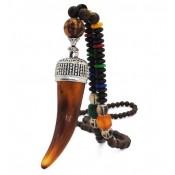 Collier perles bois avec corne ambré