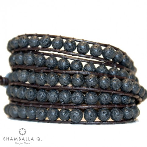 bracelet wrap a enrouler pierre de lave noir