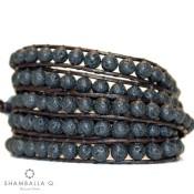 bracelet wrap a enrouler bijoux pierre de lave noir