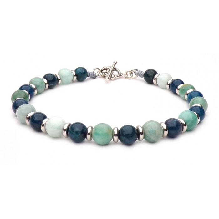 bracelet perles vertes et bleu fermoir en t argent