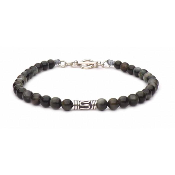 bracelet perles Oeil de faucon 4mm et fermoir en t argent