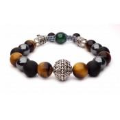 bracelet shamballa triple protections hématite oeil de tigre onyx
