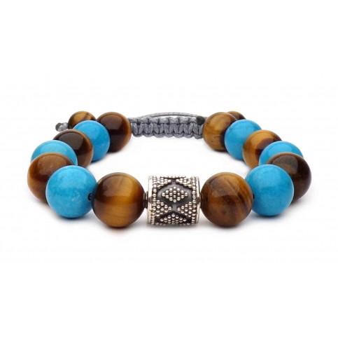 Le bracelet perles Turquoise et Oeil de tigre