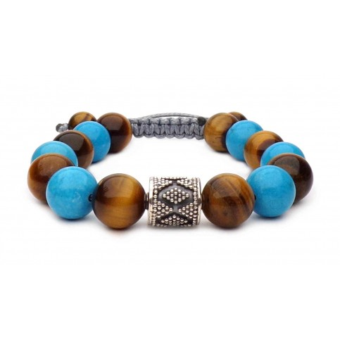 bracelet shamballa perles Turquoise et Oeil de tigre