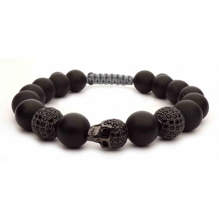 bracelet shamballa tete de mort noir